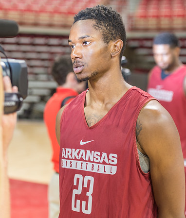 Arkansas Razorbacks guard C. J. Jones (23) meets with media during the 2016 Arkansas Razorbacks Men's Basketball Media Day and practice on Wednesday, October 5, 2016.  (Alan Jamison, Nate Allen Sports Service)