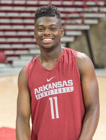 Arkansas Razorbacks guard RJ Glasper (11) meets with media during the 2016 Arkansas Razorbacks Men's Basketball Media Day and practice on Wednesday, October 5, 2016.  (Alan Jamison, Nate Allen Sports Service)