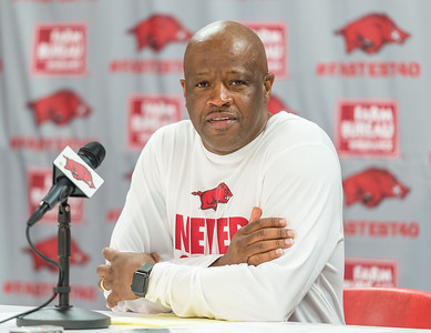 Head Coach Mike Anderson during the 2016 Arkansas Razorbacks Men's Basketball Media Day and practice on Wednesday, October 5, 2016.  (Alan Jamison, Nate Allen Sports Service)