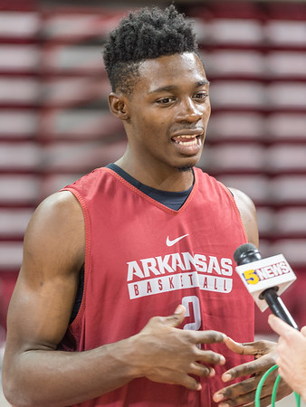 Arkansas Razorbacks forward Adrio Bailey (2) meets with media during the 2016 Arkansas Razorbacks Men's Basketball Media Day and practice on Wednesday, October 5, 2016.  (Alan Jamison, Nate Allen Sports Service)