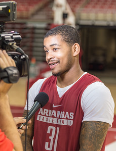 Arkansas Razorbacks guard Anton Beard (31) meets with media during the 2016 Arkansas Razorbacks Men's Basketball Media Day and practice on Wednesday, October 5, 2016.  (Alan Jamison, Nate Allen Sports Service)