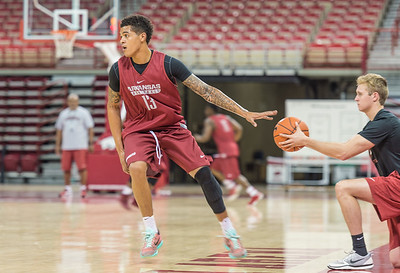 Arkansas Razorbacks forward Dustin Thomas (13) runs a practice drill during the 2016 Arkansas Razorbacks Men's Basketball Media Day and practice on Wednesday, October 5, 2016.  (Alan Jamison, Nate Allen Sports Service)