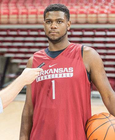 Arkansas Razorbacks forward Trey Thompson (1) meets with media  during the 2016 Arkansas Razorbacks Men's Basketball Media Day and practice on Wednesday, October 5, 2016.  (Alan Jamison, Nate Allen Sports Service)