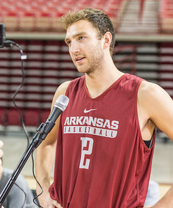 Arkansas Razorbacks forward Brachen Hazen (12) meets with media during the 2016 Arkansas Razorbacks Men's Basketball Media Day and practice on Wednesday, October 5, 2016.  (Alan Jamison, Nate Allen Sports Service)