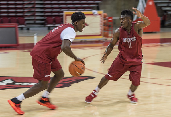 Guard RJ Glasper (11) defends guard Jaylen Barford (0) during the 2016 Arkansas Razorbacks Men's Basketball Media Day and practice on Wednesday, October 5, 2016.  (Alan Jamison, Nate Allen Sports Service)