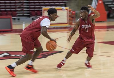 Guard RJ Glasper (11) defends guard Jaylen Barford (0) during the 2016 Arkansas Razorbacks Men's Basketball Media Day and practice on Wednesday, October 5, 2016.  (Alan Jamison, Nate Allen Sports Service)