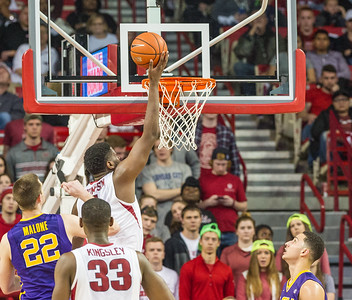 Arkansas Razorbacks forward Trey Thompson (1) goes inside for two during a basketball game between Arkansas and LSU on 2-23-16.   (Alan Jamison, Nate Allen Sports Service)