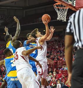 Arkansas Razorbacks guard Dusty Hannahs (3) with a shot during a basketball game between Arkansas and Southern University on November 13, 2015.    (Alan Jamison, Nate Allen Sports Service)
