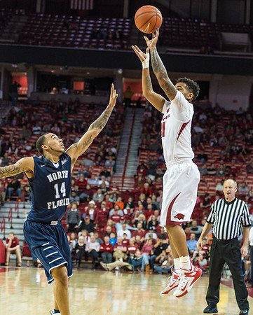 Arkansas Razorbacks guard Anton Beard (31) shoots during a basketball game between Arkansas and North Florida on December 22, 2015.    (Alan Jamison, Nate Allen Sports Service)