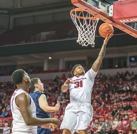 Arkansas Razorbacks guard Anton Beard (31) with a layup during a basketball game between Arkansas and North Florida on December 22, 2015.    (Alan Jamison, Nate Allen Sports Service)
