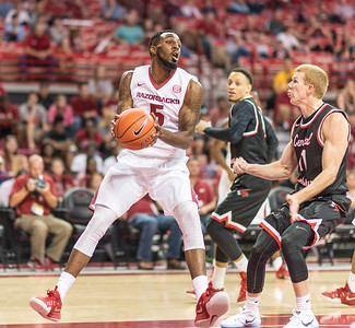 Arkansas Razorbacks forward Arlando Cook (5) looks to pass during a basketball game between Arkansas and Central Missouri on Friday, October 28, 2016.  (Alan Jamison, Nate Allen Sports Service)
