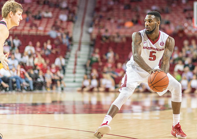 Arkansas Razorbacks forward Arlando Cook (5) looks for a play during a basketball game between Arkansas and Central Missouri on Friday, October 28, 2016.  (Alan Jamison, Nate Allen Sports Service)