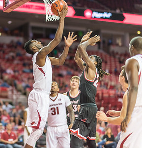 Arkansas Razorbacks forward Arlando Cook (5) shoots a reverse layup  during a basketball game between Arkansas and Central Missouri on Friday, October 28, 2016.  (Alan Jamison, Nate Allen Sports Service)
