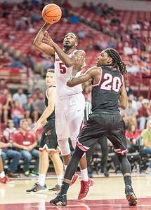 Arkansas Razorbacks forward Arlando Cook (5) shoots  during a basketball game between Arkansas and Central Missouri on Friday, October 28, 2016.  (Alan Jamison, Nate Allen Sports Service)