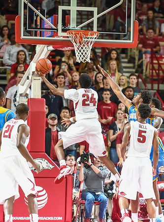 Arkansas Razorbacks guard Jimmy Whitt (24) with a basket during a basketball game between Arkansas and Southern University on November 13, 2015.    (Alan Jamison, Nate Allen Sports Service)