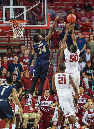 Arkansas Razorbacks center Willy Kouassi (50) with a shot during a basketball game between Arkansas and Charleston Southern on November 20, 2015.    (Alan Jamison, Nate Allen Sports Service)