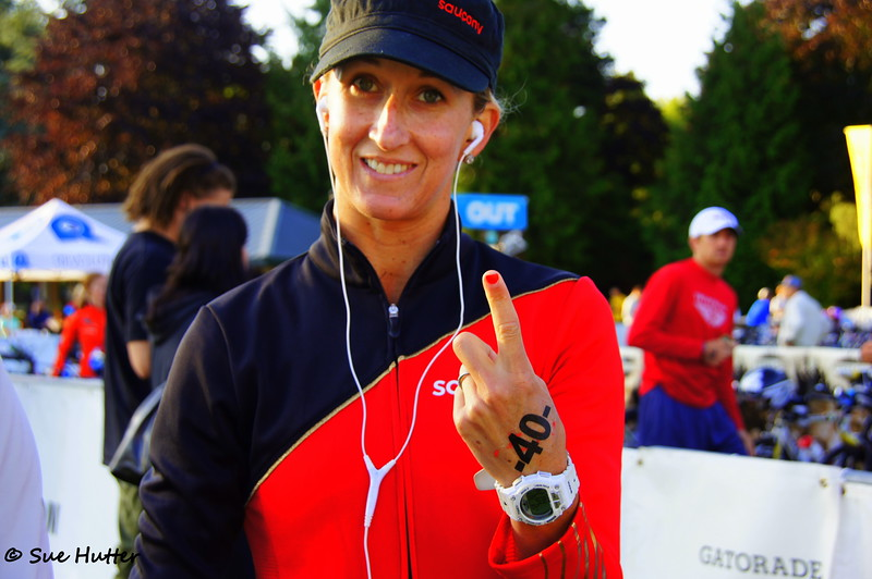 Thinking she is not happy with the nail job ~ Meredith Kessler @ bike check in ~ chilling out at Rev3 Portland