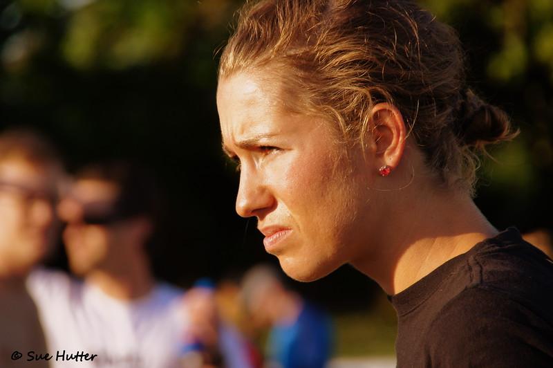 Jenn Luebke ~ luv the earings ~ Rev3 Portland race day morning