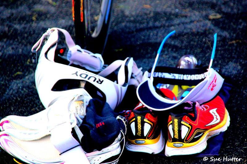 Meredith Kessler and her gear ~ at bike check in ~ Rev3 Portland