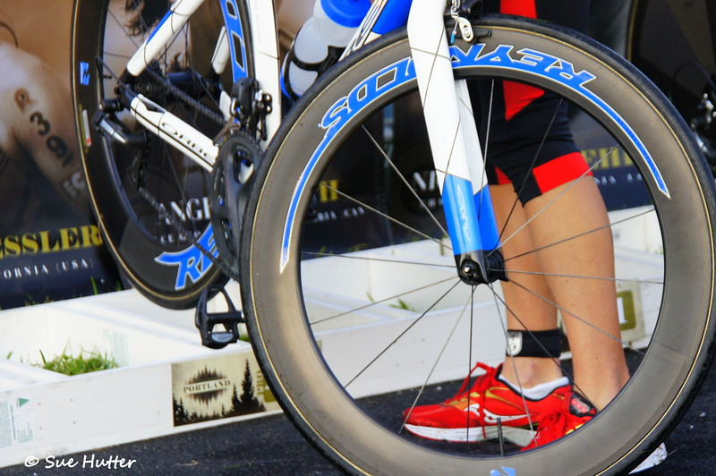 Race day morning ~ getting her bike ready ~ with Meredith Kessler ~ Rev3 Portland