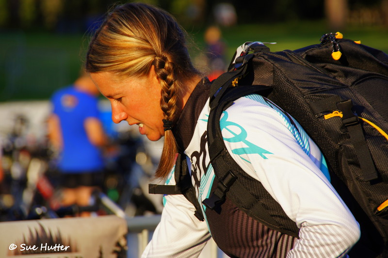 Charisa Wernick ~ getting her game face on ~ race day morning @ Rev3 Portland