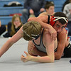 RYAN HUTTON/ Staff photo.<br /> North Andover's Zane Melillo, right, manages to get on top of Mt. Anthony's Dylan La Fountain in the 132 pound finals of the Methuen Invitational wrestling meet. Melillo defeated La Fountain.