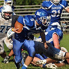 CARL RUSSO/Staff photo. Methuen's quarterback, Austin George-Williams keeps the ball and finds plenty of running room. Methuen defeated Dracut in Saturday afternoon football action 35-20. 9/28/2013.