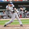 NY Met Jason Bay hitting a solo homer against the Baltimore Orioles at Camden Yards on June 13, 2010.