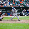A wide shot of NY Met DH Fernando Tattis (AL park rules) hitting against the Baltimore Orioles at Camden Yards on June 13, 2010.