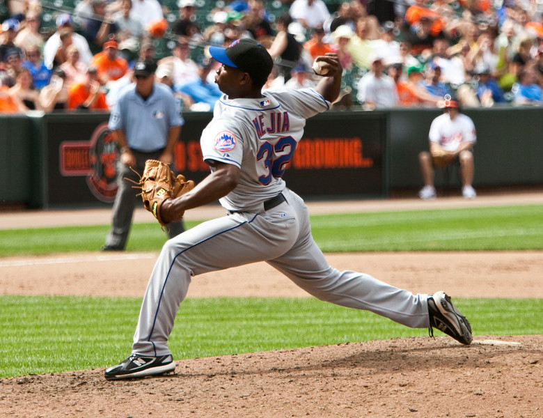 NY Met pitcher Jenrry Mejia throwing against the Baltimore Orioles at Camden Yards on June 13, 2010.