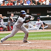 NY Met shortstop Jose Reyes bunting against the Baltimore Orioles at Camden Yards on June 13, 2010.
