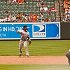 NY Met shortstop Jose Reyes throwing to first on a ground ball against the Baltimore Orioles at Camden Yards on June 13, 2010.