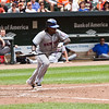 NY Met shortstop Jose Reyes heads out of the box after laying down a bunt against the Baltimore Orioles at Camden Yards on June 13, 2010.