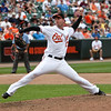 Baltimore Oriole pitcher Mark Hendrickson delivers against the NY Mets at Camden Yards on June 23, 2010.