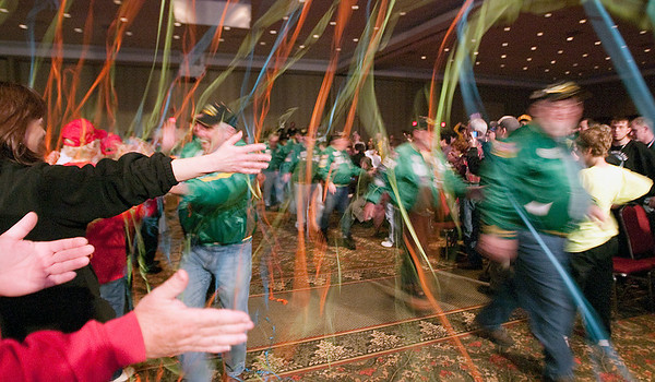 Record-Eagle/Douglas Tesner<br /> Wertz Warriors enter Governors Hall at the Grand Traverse Resort & Spa during the beginning of the opening ceremonies of the 2010 State Winter Games Special Olympics.