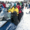 Record-Eagle/Douglas Tesner<br /> Wertz Warrior Rob Carter takes Special Olympian Paul Burghduff for a ride on his snowmobile.