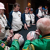 Record-Eagle/Douglas Tesner<br /> Wertz Warriors sign autographs for participants in the 2010 State Winter Games Special Olympics before opening ceremonies.