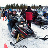 Record-Eagle/Douglas Tesner<br /> Wertz Warriors line up to take Special Olympians for  rides on their snowmobiles.
