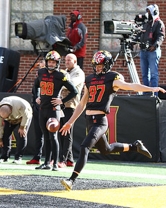 Maryland punters #97 Bentley Faulkner and #88 Wade Lees warm up prior to the game.