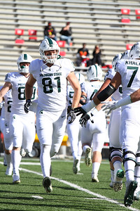 Michigan State TE #81 Matt Sokol warms up prior to the game