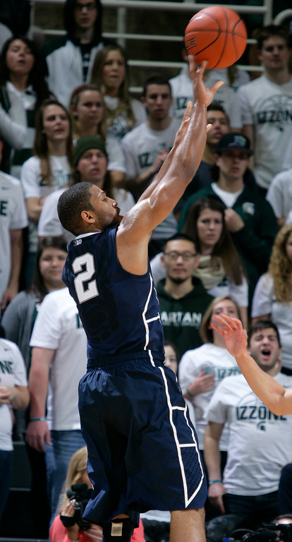 . Penn State\'s D.J. Newbill shoots during the first half of an NCAA college basketball game against Michigan State, Wednesday, Jan. 21, 2015, in East Lansing, Mich. Michigan State won 66-60. (AP Photo/Al Goldis)