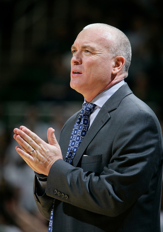 . Penn State coach Patrick Chambers reacts during the first half of an NCAA college basketball game against Michigan State, Wednesday, Jan. 21, 2015, in East Lansing, Mich. Michigan State won 66-60. (AP Photo/Al Goldis)