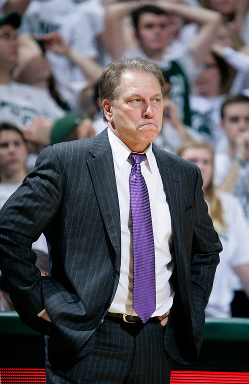 . Michigan State coach Tom Izzo reacts after a pair of missed free throws by his team during the second half of an NCAA college basketball game against Penn State, Wednesday, Jan. 21, 2015, in East Lansing, Mich. Michigan State won 66-60. (AP Photo/Al Goldis)