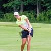 Record-Eagle/Brett A. Sommers Central Michigan graduate assistant Lauren Grogan hits a fairway shot during Monday's Michigan Women's Open.