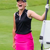 Record-Eagle/Brett A. Sommers Dayton University's Emma Meyer reacts after hitting one of the best shots of Monday's 23rd Women's Michigan Open — a 140-yard eagle that hit the pin and dropped straight into the cup.