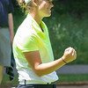 Record-Eagle/Brett A. Sommers Central Michigan graduate assistant Lauren Grogan fist pumps after making her seventh birdie of the day on No. 18 at Crystal Mountain during the 23rd Michigan Women's Open. Grogan shot an opening round best 7-under 65.