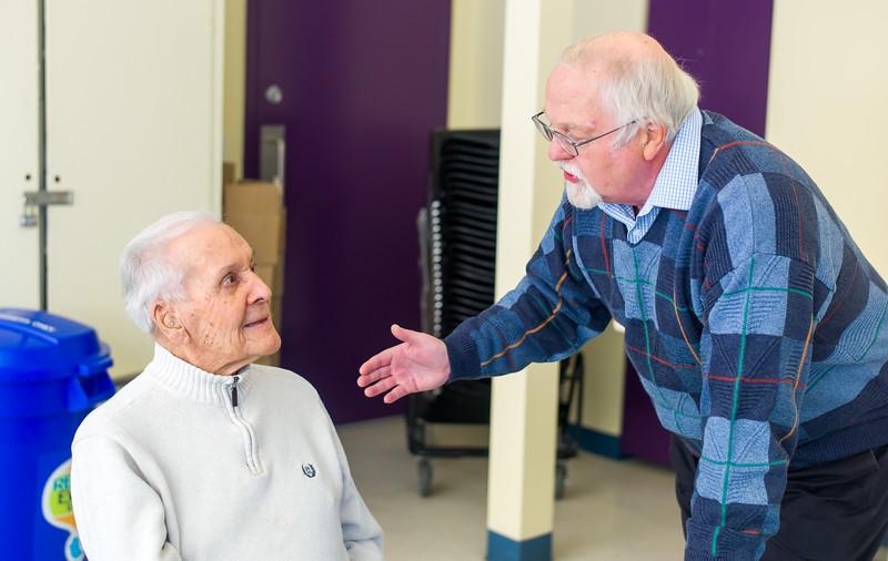 Greg Giesbrecht congratulating Jaring Timmerman at Jaring's 105th birthday party