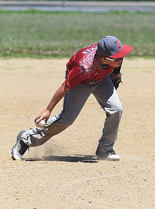 KRISTIN BAUER   CHRONICLE  South Amherst's Aidan Newman (6) fields a ground ball during a game against Midview on Sunday afternoon, July 10.