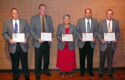 From left, Mike Crum, Charles Lange, Mary Kay Knechtges, Creg Jantz and Troy DiFranco were inducted Oct. 3 as the Class of 2009 into the Midview Athletic Hall of Fame at a banquet at DeLica's Place in the Park in Lorain.