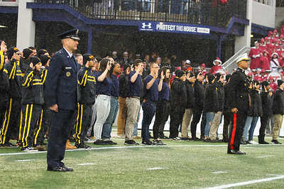 New recruits for the Army, Navy, Marine Corps and Air Force are sworn in at the end of the 1st Quarter.